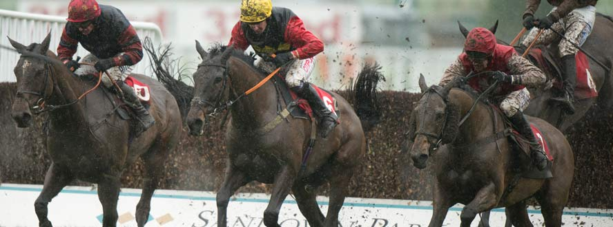 National Hunt race in the mud